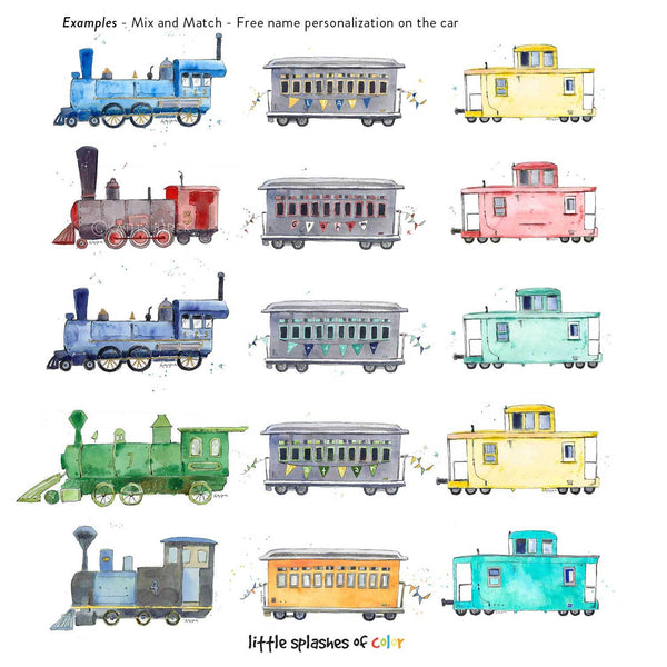 Red, Yellow and Blue Rail Car Print