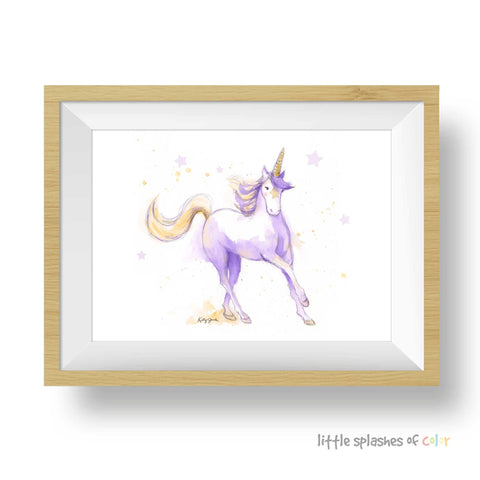purple unicorn art print