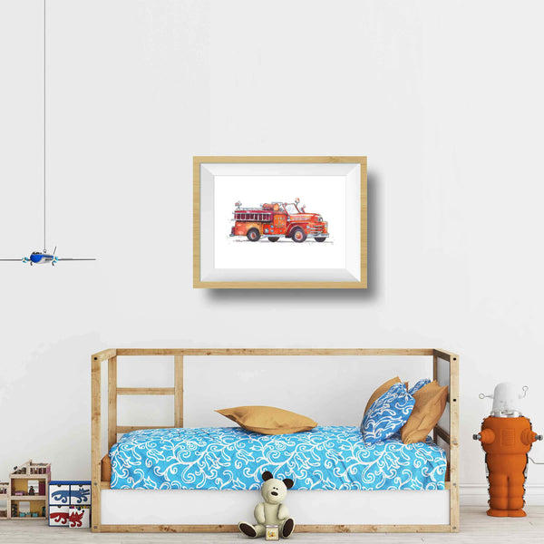 fire truck wall art boys room