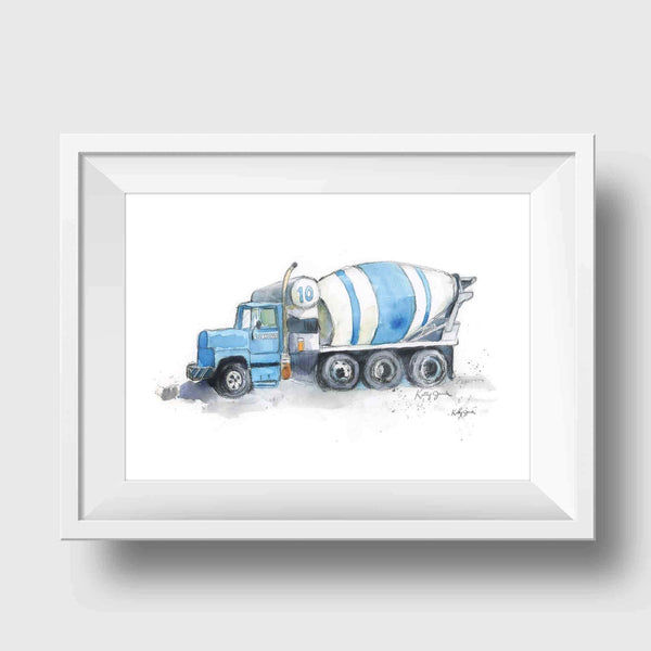 cement mixer art print