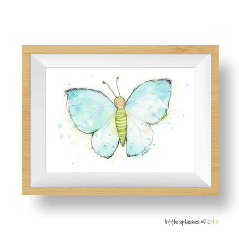 blue butterfly art for nursery
