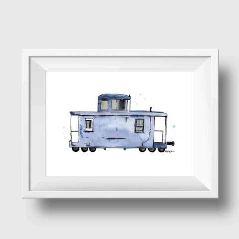 Blue Gray Caboose Art Print