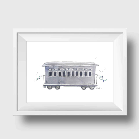 Gray Train Car Nursery Print
