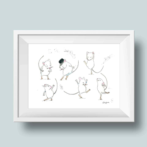 Dancing mice nursery art print