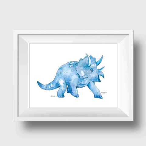 navy blue triceratops dinosaur nursery wall art