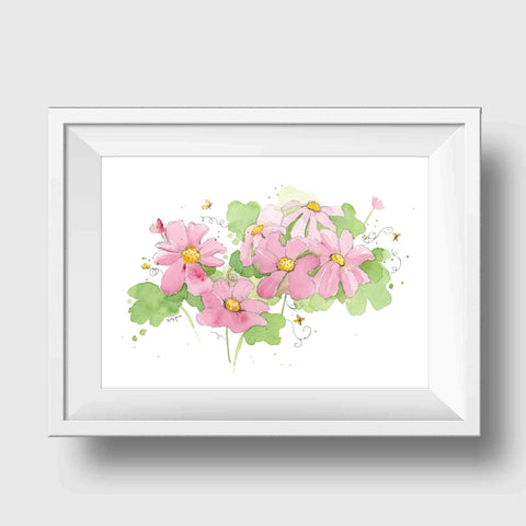 pink flowers nursery art