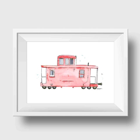 Red Caboose Children's Art Print