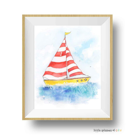 red sailboat nursery printable