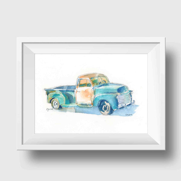 Blue Pickup Truck Art Print