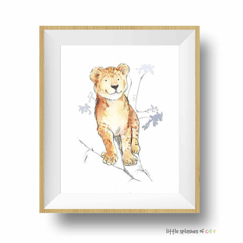 lion cub print for safari nursery and kids rooms