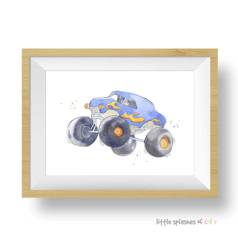blue monster truck wall art