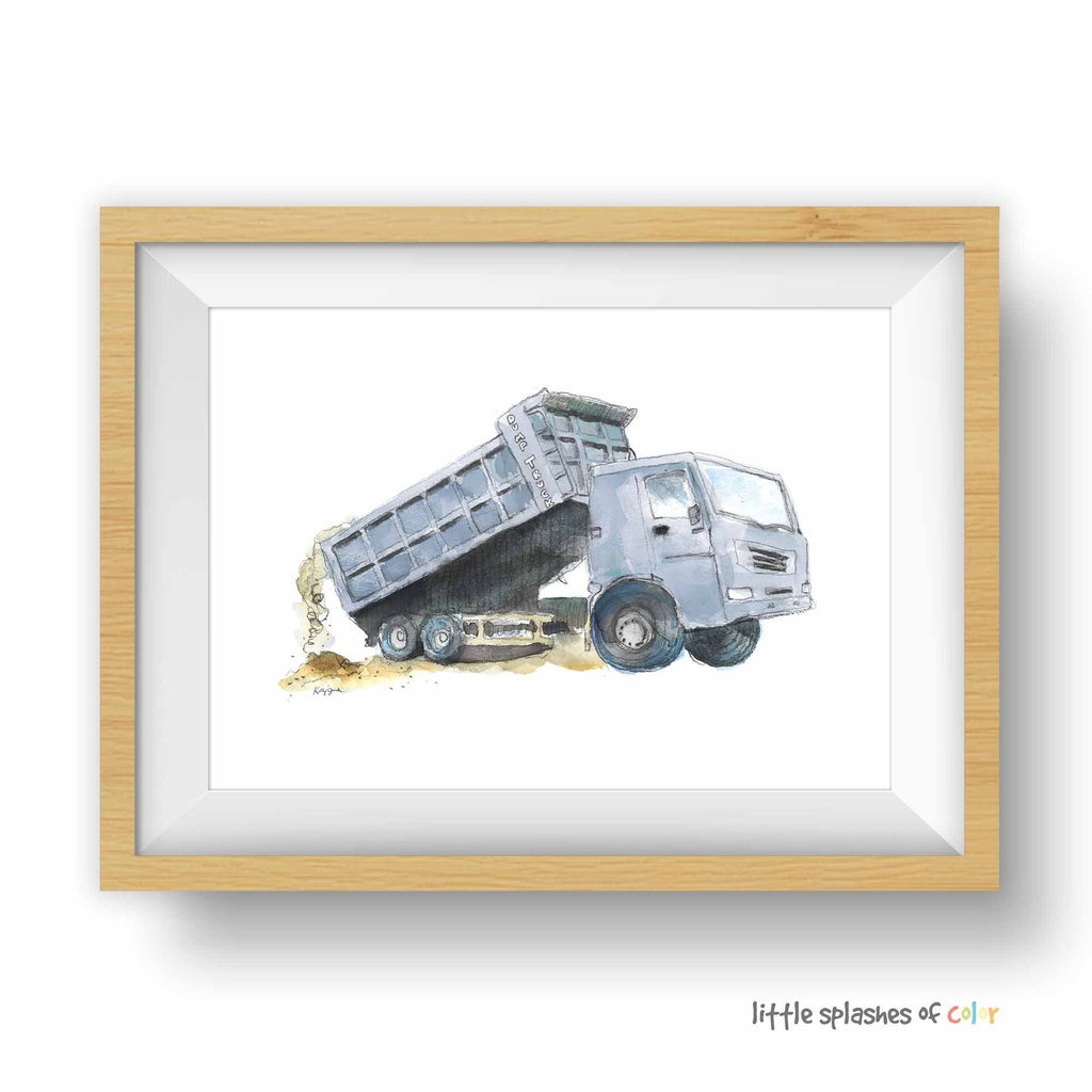 blue gray dump truck printable