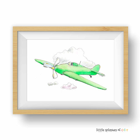 green airplane print