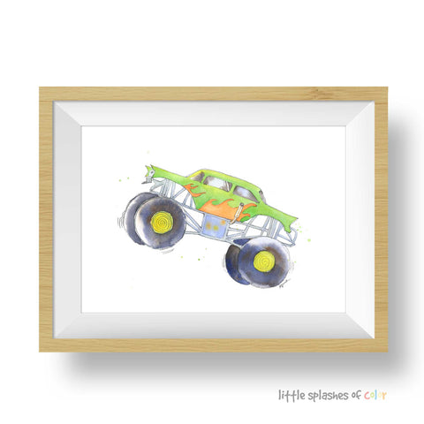 monster truck print boys room