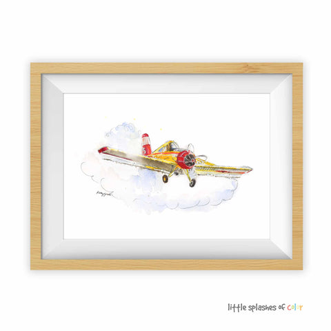 crop duster airplane print