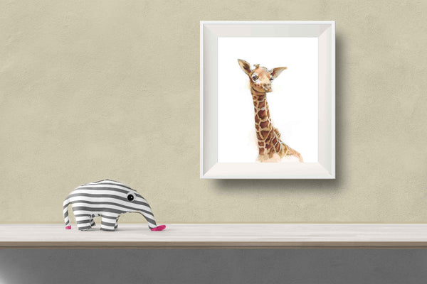 watercolor giraffe print for nursery and kids room
