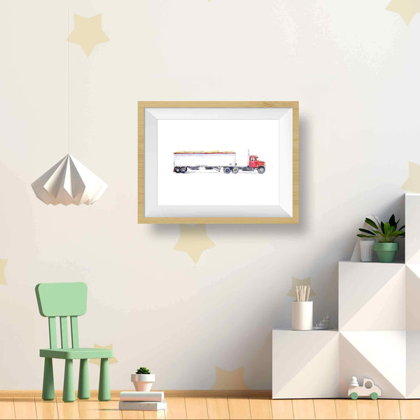 truck wall art kids