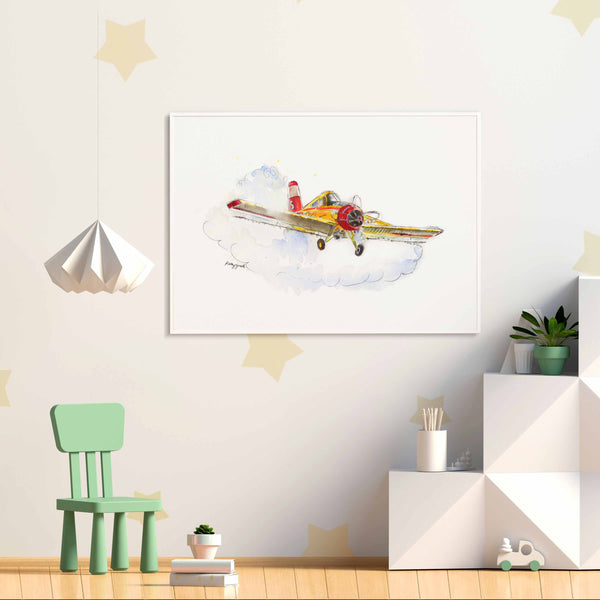 Yellow Crop Duster Airplane Print