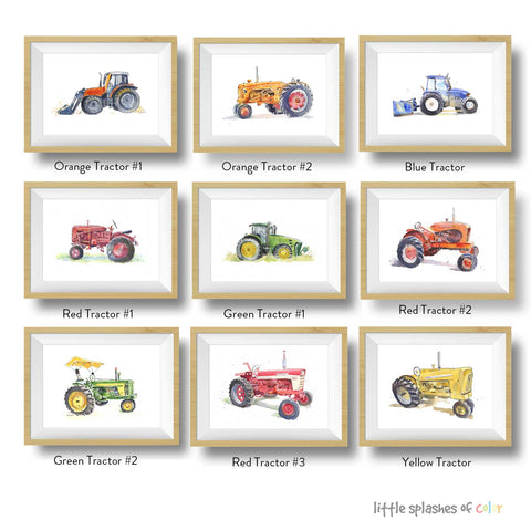 Farm Tractor Prints Set