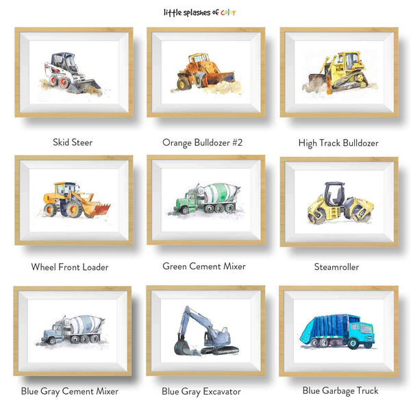 printable construction trucks