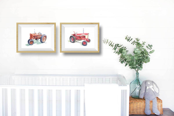 Vintage Red Tractor Print #4