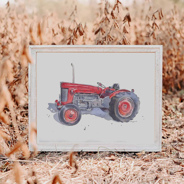 red tractor print for boys room