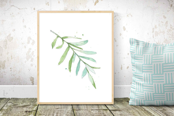 olive branch leaf watercolor