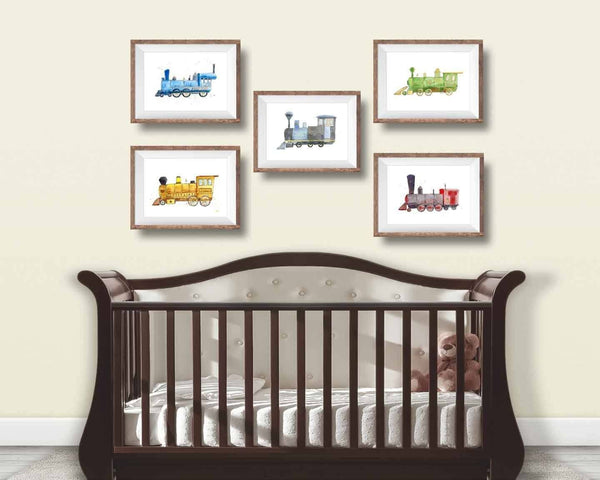 set of train nursery wall art prints