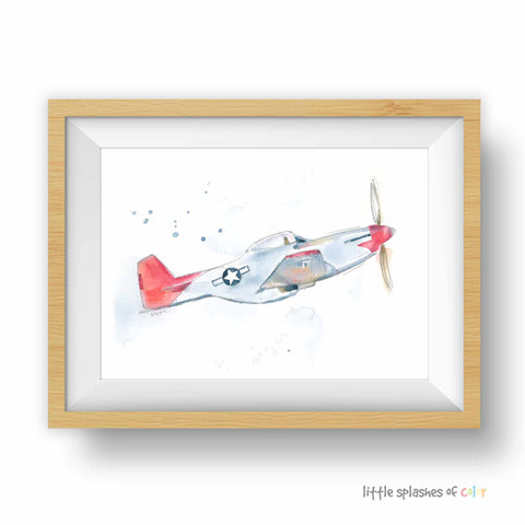 P51 Mustang airplane Print for boys room