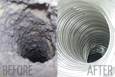 dryer vent shown before cleaning and after cleaning by Indoor Air Professionals