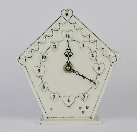 Love heart battery operated mantel clock handbuilt by stefstorey £65