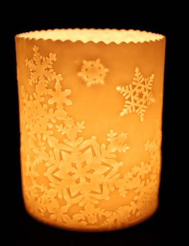 Snowflake Porcelain Tealight Holder