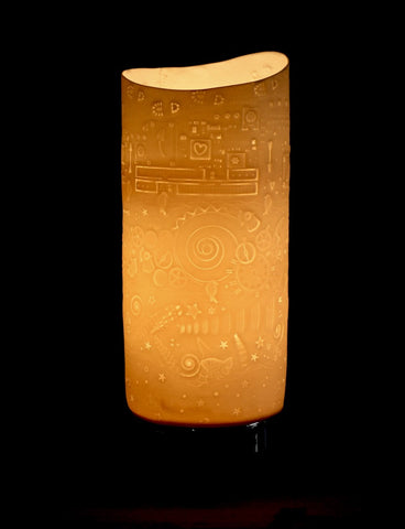 Lithophane porcelain touch-base lamp telling the story of the Carbon Footprint