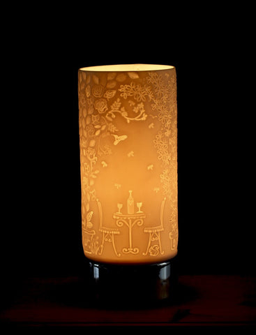 Beautiful Garden Scene printed on porcelain cylinder on a touch base lamp