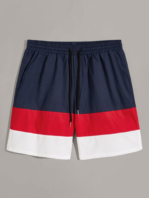 Colorblock Slant Pocket Drawstring Shorts