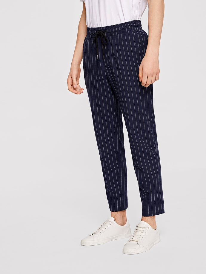 Drawstring Vertical-Striped Pants