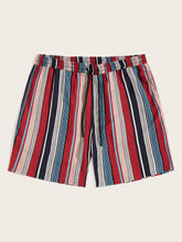 Drawstring Colorful Striped Shorts