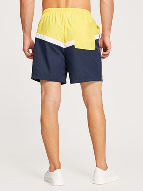 Drawstring Color-block Shorts
