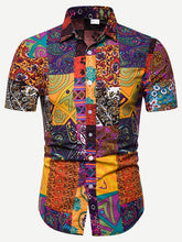 Patchwork Print Curved Hem Shirt
