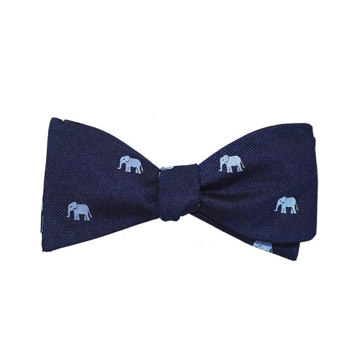 Elephant Bow Tie - Blue on Navy, Woven Silk
