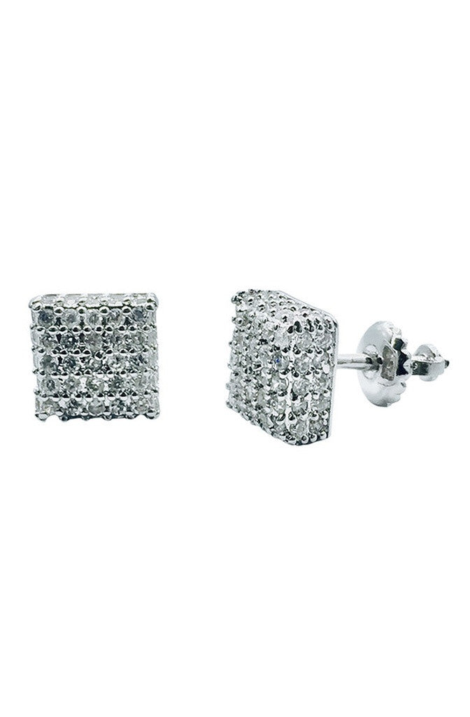 Ice Cube Earrings Silver