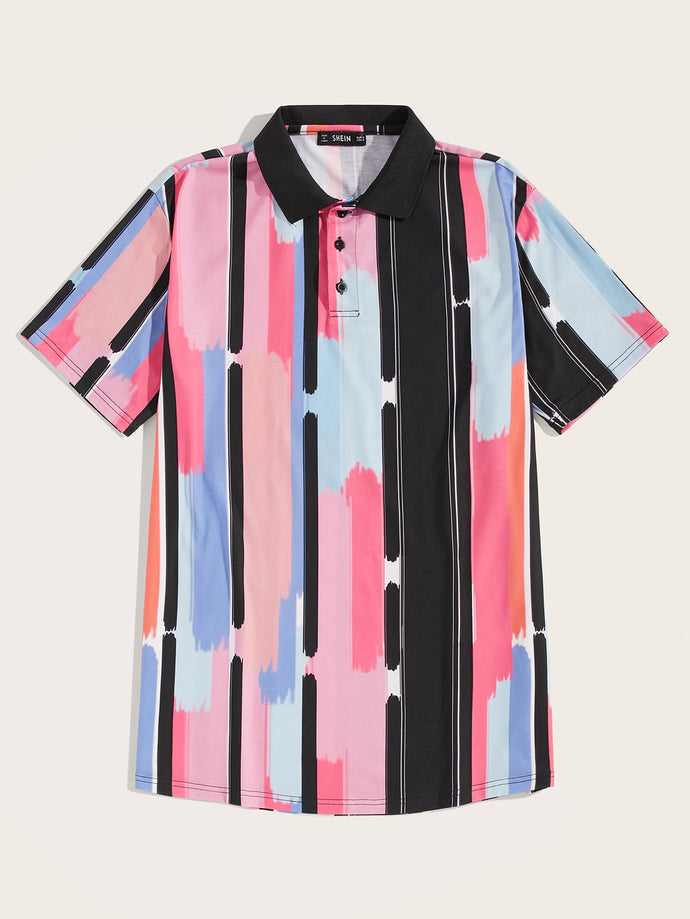 Brush Stroke Stripe Print Shirt