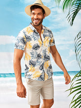 Tropical Print Curved Hem Shirt