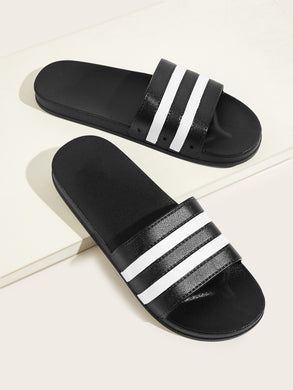 Striped Open Toe Sliders