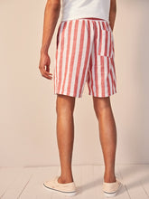 Patched Drawstring Striped Shorts