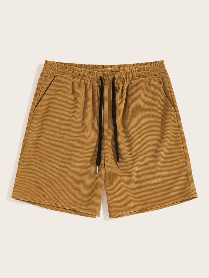 Men Drawstring Waist Corduroy Shorts