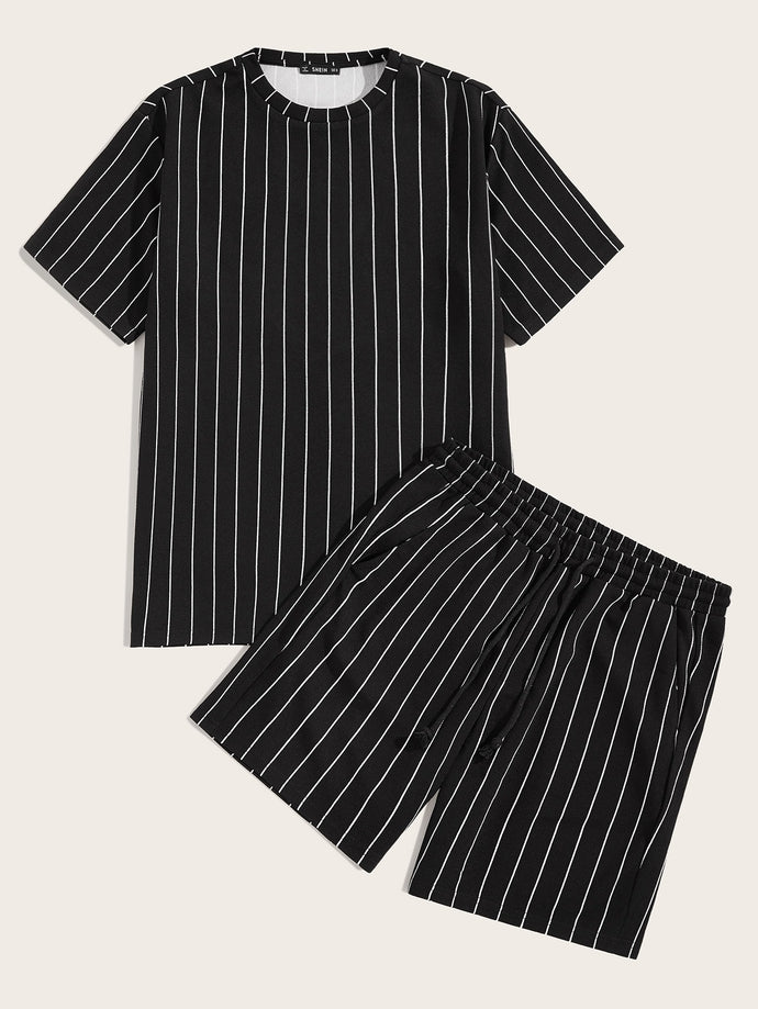 Vertical Striped Tee & Shorts Set