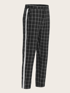 Contrast Tape Side Grid Pants