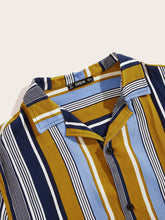 Men Notched Colorblock Striped Shirt