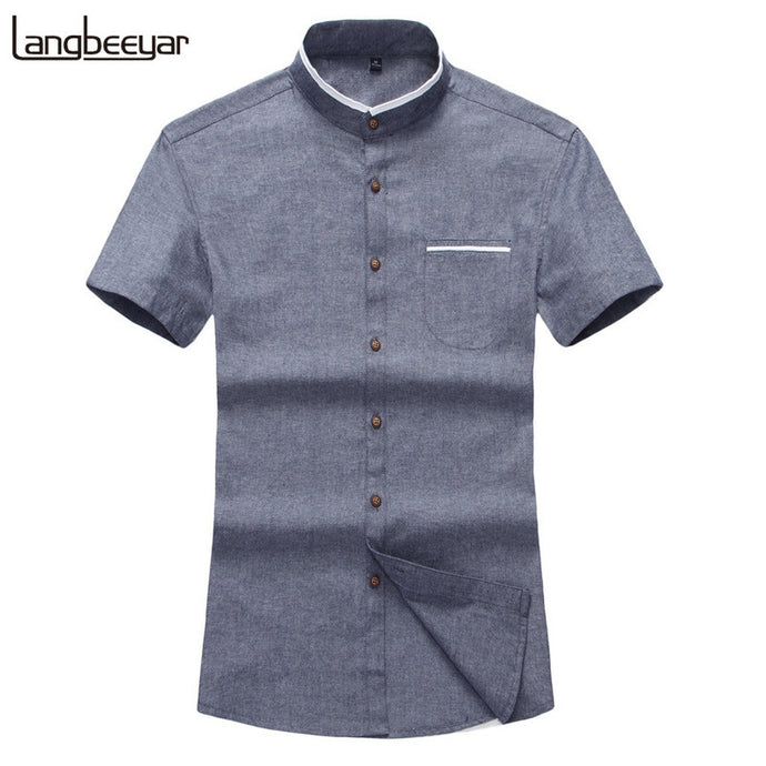 Mens Short Sleeve Shirt  Mandarin Collar Slim Fit Shirt